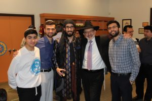 Rabbi and the youth at Purim Kids partyin thornhill