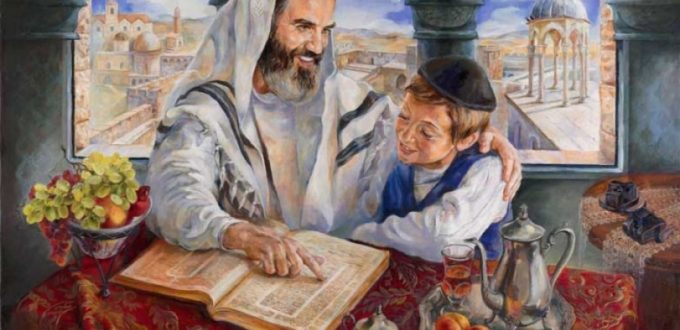 jewish father teaching torah son thornhill